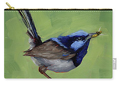 Fairy Wren With Lunch  Carry-all Pouch by Margaret Stockdale