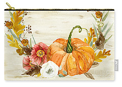 Fall Autumn Harvest Wreath On Birch Bark Watercolor Carry-all Pouch