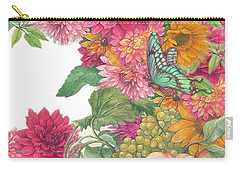 Fall Florals With Illustrated Butterfly Carry-all Pouch