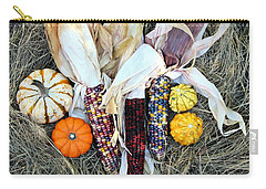Carry-all Pouch featuring the photograph Fall Harvest On Hay by Sheila Brown