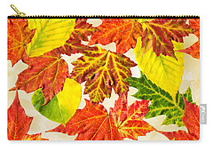 Carry-all Pouch featuring the mixed media Fall Leaves Pattern by Christina Rollo