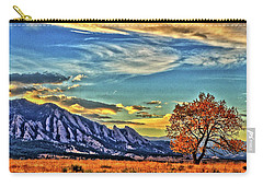 Carry-all Pouch featuring the photograph Fall Over The Flatirons by Scott Mahon