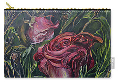 Carry-all Pouch featuring the painting Fall Roses by Nadine Dennis