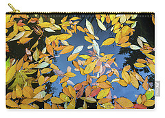 Fallen Autumn Leaves In Garden Pond Carry-all Pouch