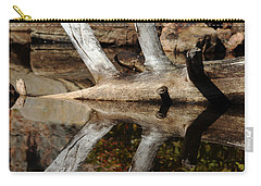 Carry-all Pouch featuring the photograph Fallen Tree Mirror Image by Debbie Oppermann