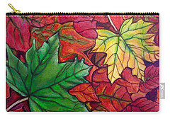 Carry-all Pouch featuring the painting Falling Leaves I Painting by Kimberlee Baxter