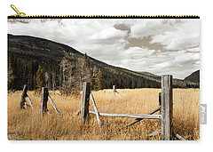Fallowfield Weathered Fence Rocky Mountain National Park Dramatic Sky Carry-all Pouch by John Stephens