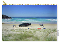 Family Day On Beach With 4wd Car  Carry-all Pouch