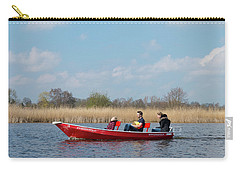 Carry-all Pouch featuring the photograph Family In Small Boat by Hans Engbers