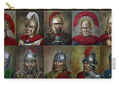 Carry-all Pouch featuring the painting Famous Warriors In History by Arturas Slapsys