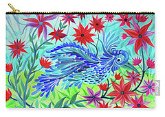 Carry-all Pouch featuring the photograph Fancy Fowl In The Flowers by Adria Trail