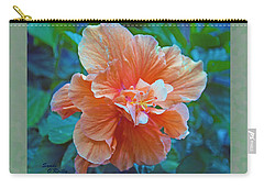 Fancy Peach Hibiscus Carry-all Pouch