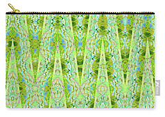 Carry-all Pouch featuring the digital art Fantasy Lime Forest Tapestry by Ann Johndro-Collins