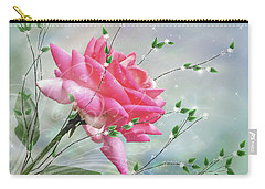 Carry-all Pouch featuring the digital art Fantasy Rose by Nina Bradica