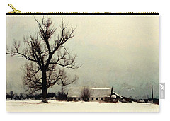 Carry-all Pouch featuring the photograph Far From Home - Winter Barn by Janine Riley