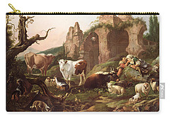 Farm Animals In A Landscape Carry-all Pouch by Johann Heinrich Roos