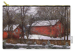 Farm - Barn - Winter In The Country  Carry-all Pouch by Mike Savad