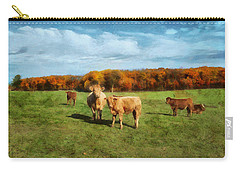 Farm Field And Brown Cows Carry-all Pouch