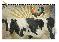 Carry-all Pouch featuring the painting Farm Fresh Barnyard Animals Cow Rooster Typography by Audrey Jeanne Roberts