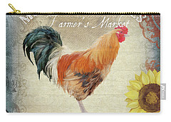 Carry-all Pouch featuring the painting Farm Fresh Barnyard Rooster Morning Sunflower Rustic by Audrey Jeanne Roberts