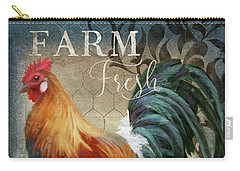 Carry-all Pouch featuring the painting Farm Fresh Daily Red Rooster Sunflower Farmhouse Chic by Audrey Jeanne Roberts