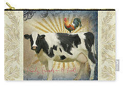 Carry-all Pouch featuring the painting Farm Fresh Damask Milk Cow Red Rooster Sunburst Family N Friends by Audrey Jeanne Roberts