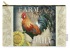 Carry-all Pouch featuring the painting Farm Fresh Damask Red Rooster Sunflower by Audrey Jeanne Roberts
