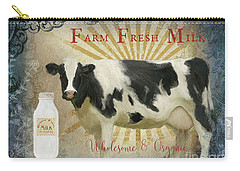 Carry-all Pouch featuring the painting Farm Fresh Milk Vintage Style Typography Country Chic by Audrey Jeanne Roberts