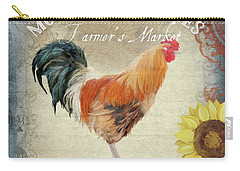 Carry-all Pouch featuring the painting Farm Fresh Morning Rooster Sunflowers Farmhouse Country Chic by Audrey Jeanne Roberts