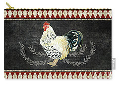 Carry-all Pouch featuring the painting Farm Fresh Rooster 3 - On Chalkboard W Diamond Pattern Border by Audrey Jeanne Roberts