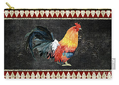 Carry-all Pouch featuring the painting Farm Fresh Rooster 4 - On Chalkboard W Diamond Pattern Border by Audrey Jeanne Roberts