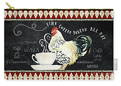 Carry-all Pouch featuring the painting Farm Fresh Rooster 5 - Coffee Served Chalkboard Cappuccino Cafe Latte  by Audrey Jeanne Roberts