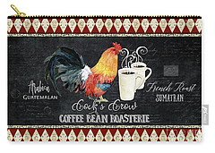 Carry-all Pouch featuring the painting Farm Fresh Rooster 6 - Coffee Bean Roasterie French Roast by Audrey Jeanne Roberts