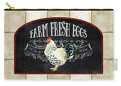 Carry-all Pouch featuring the painting Farm Fresh Roosters 1 - Fresh Eggs Typography by Audrey Jeanne Roberts