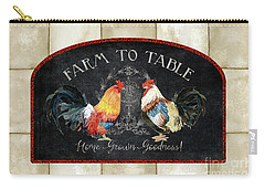 Carry-all Pouch featuring the painting Farm Fresh Roosters 2 - Farm To Table Chalkboard by Audrey Jeanne Roberts