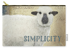 Carry-all Pouch featuring the painting Farm Fresh Sheep Lamb Simplicity Square by Audrey Jeanne Roberts