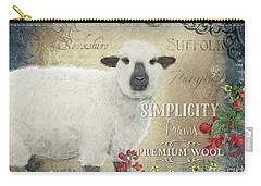 Carry-all Pouch featuring the painting Farm Fresh Sheep Lamb Wool Farmhouse Chic  by Audrey Jeanne Roberts