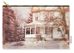 Carry-all Pouch featuring the photograph Farmhouse In Snow by Jill Battaglia