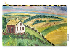 Carry-all Pouch featuring the painting Farmhouse On A Hill by Diane Pape