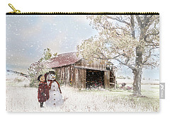 Carry-all Pouch featuring the photograph Farmstyle Snowman by Mary Timman
