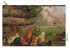 Farmyard Chickens Carry-all Pouch by Carl Jutz
