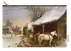 Farmyard In Winter  Carry-all Pouch by Henry Woollett