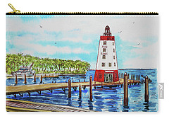 Carry-all Pouch featuring the painting Faro Blanco Lighthouse Florida Keys by Irina Sztukowski