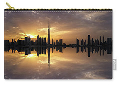 Fascinating Reflection In Business Bay District During Dramatic Sunset. Dubai, United Arab Emirates. Carry-all Pouch