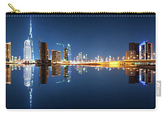 Fascinating Reflection Of Tallest Skyscrapers In Business Bay District During Calm Night. Dubai, United Arab Emirates. Carry-all Pouch