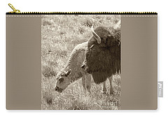 Carry-all Pouch featuring the photograph Father And Baby Buffalo by Rebecca Margraf