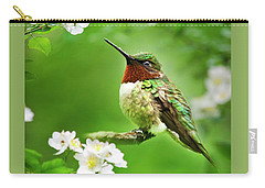 Fauna And Flora - Hummingbird With Flowers Carry-all Pouch by Christina Rollo