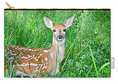 Fawn In Tall Grass Carry-all Pouch