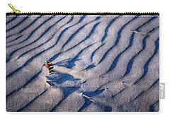 Carry-all Pouch featuring the photograph Feather In Sand by Michelle Calkins
