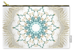 Carry-all Pouch featuring the digital art Feathers And Catkins Kaleidoscope Design by Mary Machare